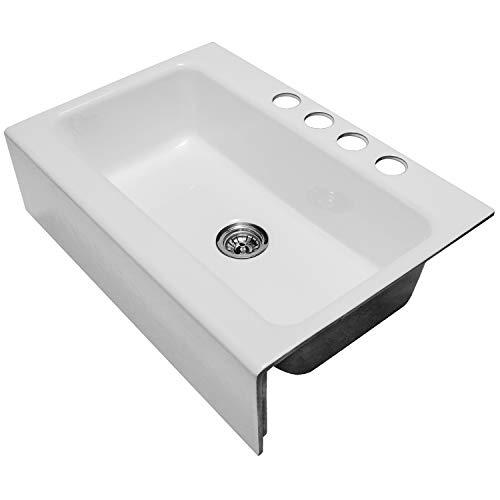 Enbol EFS3322 33 X 22 Inch Brilliant White Modern Enameled Cast Iron Apron Front Farmhouse Undermount Single Bowl Kitchen Sink Included Basket Strainer 0 2