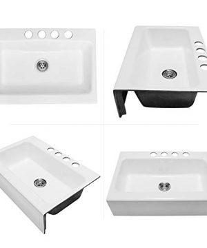 Enbol EFS3322 33 X 22 Inch Brilliant White Modern Enameled Cast Iron Apron Front Farmhouse Undermount Single Bowl Kitchen Sink Included Basket Strainer 0 3 300x360