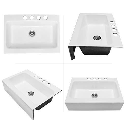 Enbol EFS3322 33 X 22 Inch Brilliant White Modern Enameled Cast Iron Apron Front Farmhouse Undermount Single Bowl Kitchen Sink Included Basket Strainer 0 3
