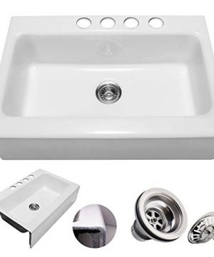 Enbol EFS3322 33 X 22 Inch Brilliant White Modern Enameled Cast Iron Apron Front Farmhouse Undermount Single Bowl Kitchen Sink Included Basket Strainer 0 300x360