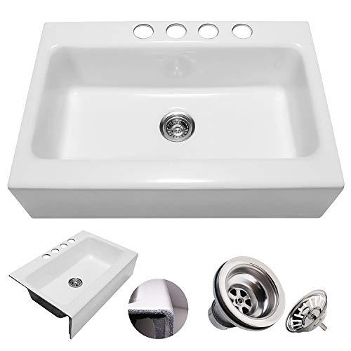 Enbol EFS3322 33 X 22 Inch Brilliant White Modern Enameled Cast Iron Apron Front Farmhouse Undermount Single Bowl Kitchen Sink Included Basket Strainer 0