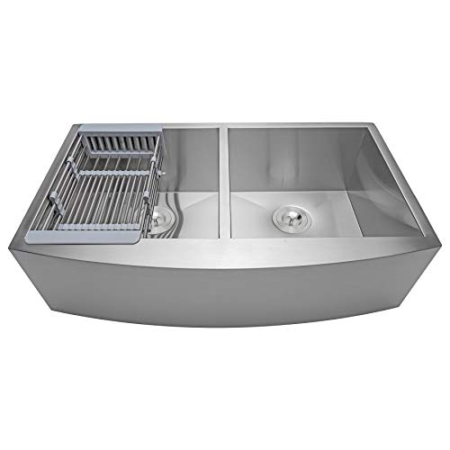 Fb Handmade Farmhouse Kitchen Sink 33 Inch Undermount 50 50 Double Bowl Stainless Steel 33 X 22 X 9 With Dish Tray Drain Kit Farmhouse Goals