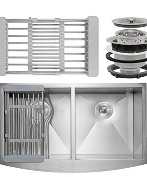 FB Handmade Farmhouse Kitchen Sink 33 Inch Undermount 5050 Double Bowl Stainless Steel 33 X 22 X 9 With Dish Tray Drain Kit 0 300x360