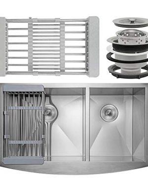 Firebird 33 X 20 X 9 Apron Farmhouse Handmade Stainless Steel Double Bowl 6040 Kitchen Sink W Drain Strainer Kit Adjustable Tray 0 300x360