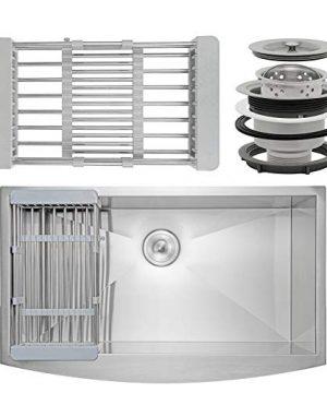 Firebird 33 X 20 X 9 Apron Farmhouse Handmade Stainless Steel Single Bowl Kitchen Sink W Drain Strainer Kit Adjustable Tray 0 300x360