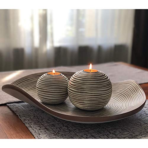 Huey House Orb Candle Holders Tray Decor Set 16 Inch Decorative Bowl 2 Spheres Coffee Table Decor Or Centerpieces Farmhouse Goals