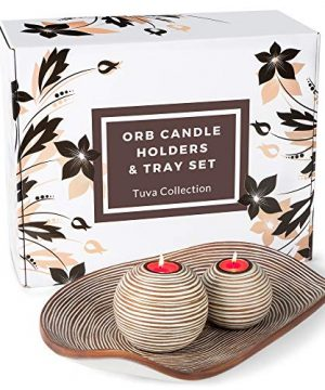 Huey House Orb Candle Holders Tray Decor Set 2 Spheres And Decorative Bowl Coffee Table Decor Or Centerpieces For Dining Room Table Or Kitchen Counter Gift Boxed Light Brown 0 300x360