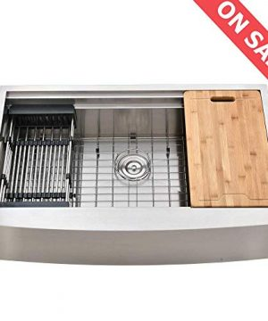 KINGO HOME 33 Inch 9 Inch 18 Gauge Single Bowl Handmade Stainless Steel Drop In Farmhouse Apron Front Workstation Kitchen Sink Kitchen Sink With Integrated Ledge And Accessories 0 300x360