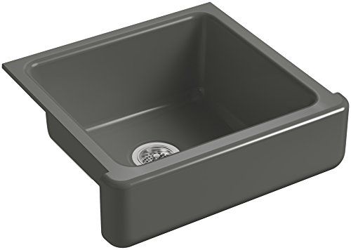 KOHLER-K-5664-58-Whitehaven-Farmhouse-Self-Trimming-Undermount-Single-Bowl-Kitchen-Sink-with-Short-Apron-23-12-Inch-x-21-916-Inch-x-9-58-Inch-Thunder-Grey-0