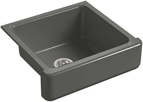 KOHLER-K-5664-58-Whitehaven-Farmhouse-Self-Trimming-Undermount-Single-Bowl-Kitchen-Sink-with-Short-Apron-23-12-Inch-x-21-916-Inch-x-9-58-Inch-Thunder-Grey-0