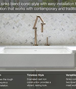 KOHLER K 5664 95 Whitehaven Farmhouse Self Trimming Undermount Single Bowl Kitchen Sink With Short Apron 23 12 Inch X 21 916 Inch X 9 58 Inch Ice Grey 0 0 300x349