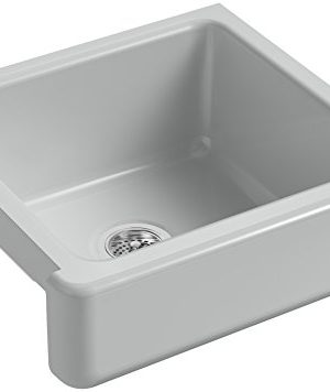 KOHLER-K-5664-95-Whitehaven-Farmhouse-Self-Trimming-Undermount-Single-Bowl-Kitchen-Sink-with-Short-Apron-23-12-Inch-x-21-916-Inch-x-9-58-Inch-Ice-Grey-0