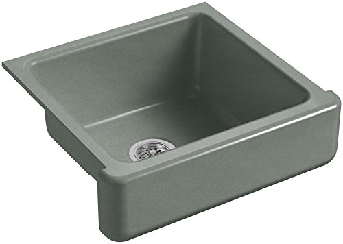 KOHLER-K-5664-FT-Whitehaven-Farmhouse-Self-Trimming-23-12-Inch-x-21-916-Inch-x-9-58-Inch-Undermount-Single-Bowl-Kitchen-Sink-with-Short-Apron-Basalt-0