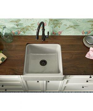 KOHLER K 5664 G9 Whitehaven Farmhouse Self Trimming 23 12 Inch X 21 916 Inch X 9 58 Inch Undermount Single Bowl Kitchen Sink With Short Apron Sandbar 0 1 300x360