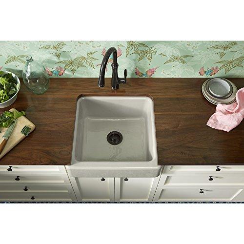 KOHLER K 5664 G9 Whitehaven Farmhouse Self Trimming 23 12 Inch X 21 916 Inch X 9 58 Inch Undermount Single Bowl Kitchen Sink With Short Apron Sandbar 0 1