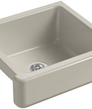 KOHLER K 5664 G9 Whitehaven Farmhouse Self Trimming 23 12 Inch X 21 916 Inch X 9 58 Inch Undermount Single Bowl Kitchen Sink With Short Apron Sandbar 0 300x356