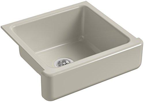 KOHLER K 5664 G9 Whitehaven Farmhouse Self Trimming 23 12 Inch X 21 916 Inch X 9 58 Inch Undermount Single Bowl Kitchen Sink With Short Apron Sandbar 0