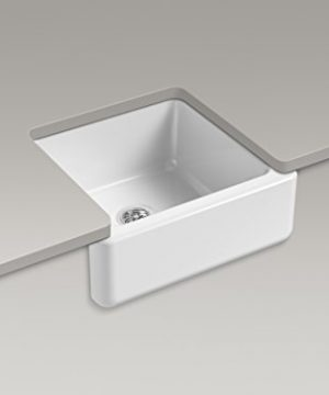 KOHLER K 5665 0 Whitehaven Farmhouse Self Trimming Undermount Single Bowl Kitchen Sink With Tall Apron 23 1116 X 21 916 X 9 58 Inch White 0 0 300x360