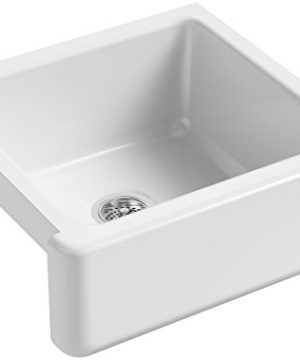 KOHLER K 5665 0 Whitehaven Farmhouse Self Trimming Undermount Single Bowl Kitchen Sink With Tall Apron 23 1116 X 21 916 X 9 58 Inch White 0 300x360