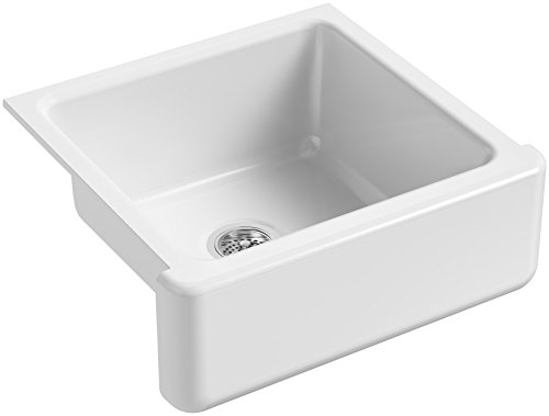 KOHLER K 5665 0 Whitehaven Farmhouse Self Trimming Undermount Single Bowl Kitchen Sink With Tall Apron 23 1116 X 21 916 X 9 58 Inch White 0