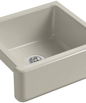 KOHLER K 5665 G9 Whitehaven Farmhouse Self Trimming 23 1116 Inch X 21 916 Inch X 9 58 Inch Undermount Single Bowl Kitchen Sink With Tall Apron Sandbar 0 300x360