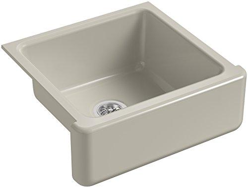 KOHLER K 5665 G9 Whitehaven Farmhouse Self Trimming 23 1116 Inch X 21 916 Inch X 9 58 Inch Undermount Single Bowl Kitchen Sink With Tall Apron Sandbar 0
