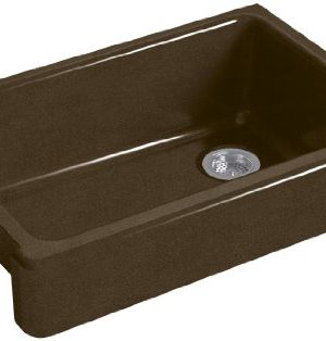 KOHLER K 5826 KA Whitehaven Farmhouse Self Trimming Undermount Single Bowl Sink With Short Apron BlackTan 0 300x314