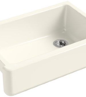 KOHLER K 5827 96 Whitehaven Farmhouse Self Trimming Undermount Single Bowl Sink With Tall Apron Biscuit 0 300x337