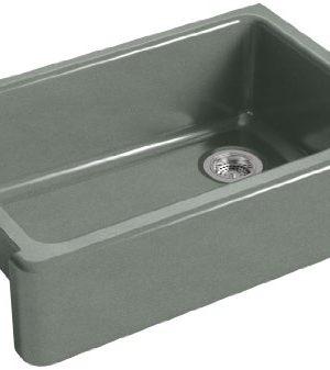 KOHLER K 5827 FT Whitehaven Farmhouse Self Trimming Undermount Single Bowl Sink With Tall Apron Basalt 0 300x337
