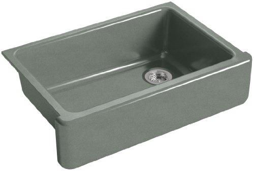 KOHLER K 5827 FT Whitehaven Farmhouse Self Trimming Undermount Single Bowl Sink With Tall Apron Basalt 0