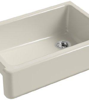 KOHLER K 5827 G9 Whitehaven Farmhouse Self Trimming Undermount Single Bowl Sink With Tall Apron Sandbar 0 300x337