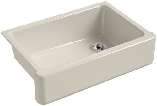 KOHLER K 5827 G9 Whitehaven Farmhouse Self Trimming Undermount Single Bowl Sink With Tall Apron Sandbar 0