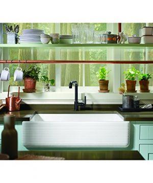 KOHLER K 6351 0 Whitehaven Hayridge Under Mount Single Bowl Kitchen Sink With Tall Apron White 0 2 300x360
