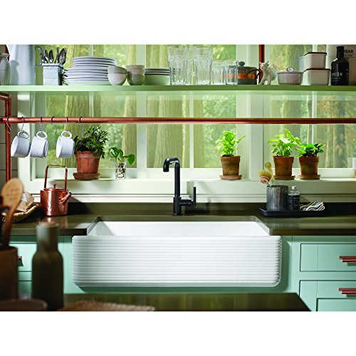 KOHLER K 6351 0 Whitehaven Hayridge Under Mount Single Bowl Kitchen Sink With Tall Apron White 0 2