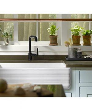 KOHLER K 6351 0 Whitehaven Hayridge Under Mount Single Bowl Kitchen Sink With Tall Apron White 0 3 300x360