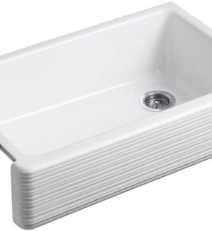 KOHLER K 6351 0 Whitehaven Hayridge Under Mount Single Bowl Kitchen Sink With Tall Apron White 0 300x328