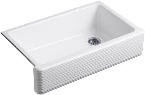 KOHLER K 6351 0 Whitehaven Hayridge Under Mount Single Bowl Kitchen Sink With Tall Apron White 0