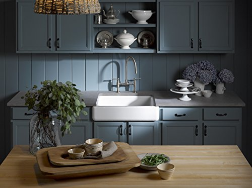KOHLER K 6486 7 Whitehaven Farmhouse Self Trimming Apron Front Single Basin Kitchen Sink With Short Apron Black 0 1