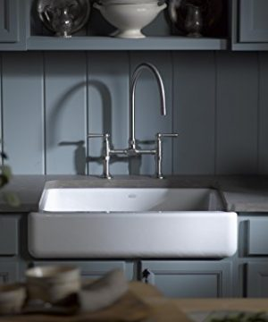 KOHLER K 6486 7 Whitehaven Farmhouse Self Trimming Apron Front Single Basin Kitchen Sink With Short Apron Black 0 2 300x360