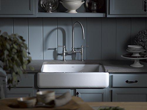 KOHLER K 6486 7 Whitehaven Farmhouse Self Trimming Apron Front Single Basin Kitchen Sink With Short Apron Black 0 2