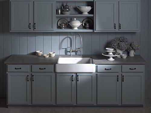 KOHLER K 6486 7 Whitehaven Farmhouse Self Trimming Apron Front Single Basin Kitchen Sink With Short Apron Black 0 3