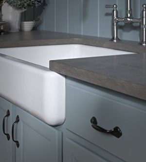 KOHLER K 6486 7 Whitehaven Farmhouse Self Trimming Apron Front Single Basin Kitchen Sink With Short Apron Black 0 4 300x332