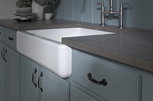 KOHLER K 6486 7 Whitehaven Farmhouse Self Trimming Apron Front Single Basin Kitchen Sink With Short Apron Black 0 4