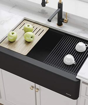 KRAUS 33 Bellucci Apron Workstation Kitchen Sink Farmhouse Single Bowl With Cutting Board In Black 0 300x360