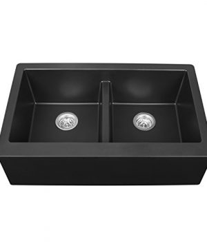 Karran QA 750 SinkQuartz Double Equal Bowl With ApronBlack 0 300x360