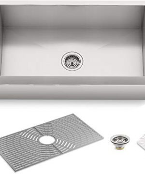 Kohler K 20243 PC NA STERLING Ludington 34 Under Mount Single Bowl Farmhouse Kitchen Sink With Accessories Apron Front Basin Stainless Steel 0 300x360