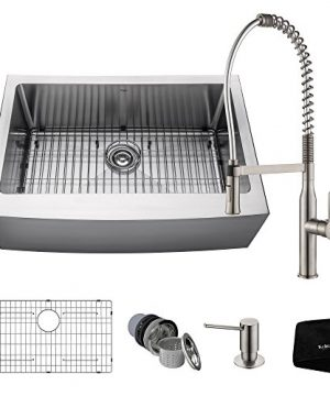 Kraus KHF200 30 1650 41SS 30 Inch Stainless Steel Combo With Single Bowl 16 Gauge Apron Front Farmhouse Sink And Nola Commercial Kitchen Faucet With Soap Dispenser 0 0 300x360
