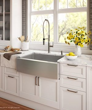 Kraus KHF200 30 1650 41SS 30 Inch Stainless Steel Combo With Single Bowl 16 Gauge Apron Front Farmhouse Sink And Nola Commercial Kitchen Faucet With Soap Dispenser 0 1 300x360