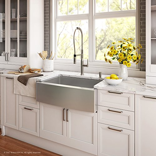 Kraus KHF200 30 1650 41SS 30 Inch Stainless Steel Combo With Single Bowl 16 Gauge Apron Front Farmhouse Sink And Nola Commercial Kitchen Faucet With Soap Dispenser 0 1