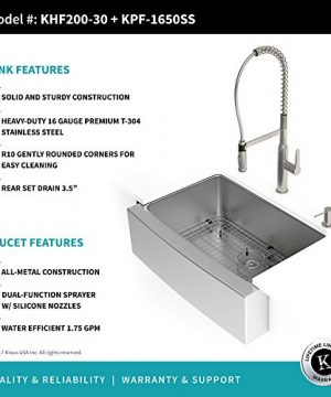 Kraus KHF200 30 1650 41SS 30 Inch Stainless Steel Combo With Single Bowl 16 Gauge Apron Front Farmhouse Sink And Nola Commercial Kitchen Faucet With Soap Dispenser 0 2 300x360